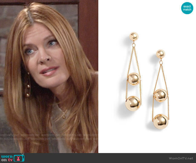 Halogen Triple Sphere Chain Drop Earrings worn by Phyllis Summers (Michelle Stafford) on The Young & the Restless