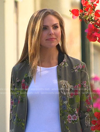 Hannah's green floral print bomber jacket on The Bachelorette