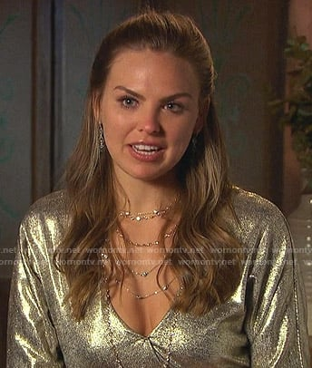 Hannah's metallic long sleeve dress on The Bachelorette