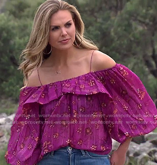 Hannah's purple floral blouse on The Bachelorette