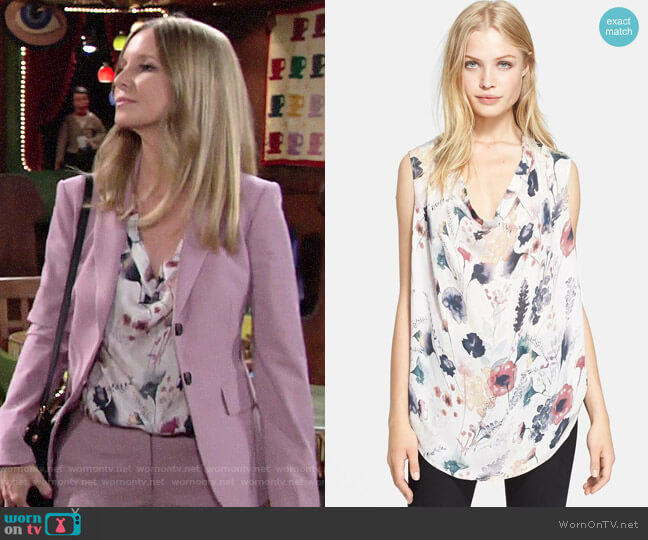 Haute Hippie Meadow Floral Print Silk Blouse worn by Christine Blair Williams (Lauralee Bell) on The Young & the Restless