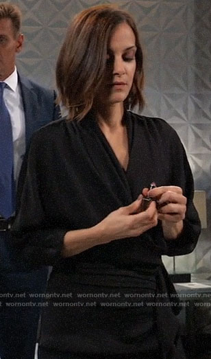 Hayden's black draped faux wrap dress on General Hospital
