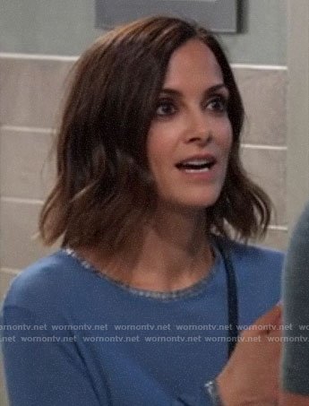 Hayden's blue metallic trim long sleeve tee on General Hospital