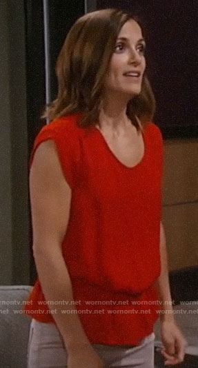 Hayden's red flashback top on General Hospital