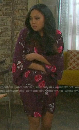 Haley's purple floral robe on Days of our Lives