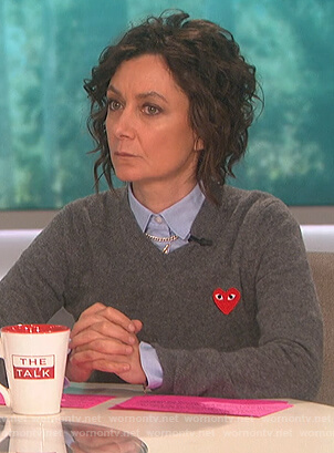 Sara's gray heart patch sweater on The Talk