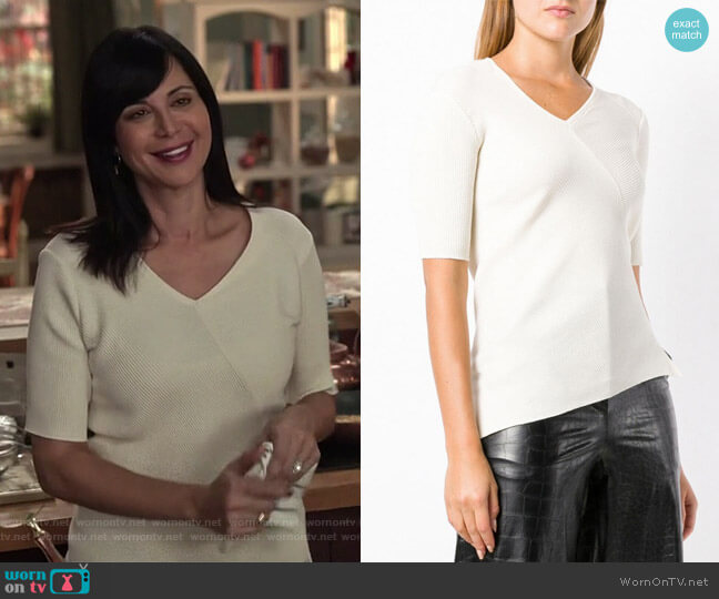 Ribbed V-Neck Top by Helmut Lang worn by Cassandra Nightingale (Catherine Bell) on Good Witch