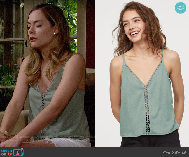 H&M V-neck Camisole worn by Hope Logan (Annika Noelle) on The Bold & the Beautiful