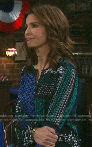Hope's patchwork print blouse on Days of our Lives