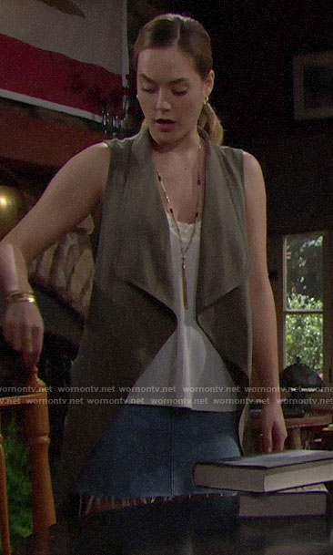Hope's green draped front vest on The Bold and the Beautiful