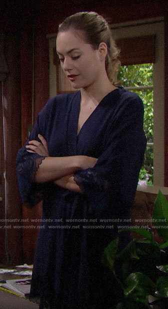 Hope's navy lace-trim robe on The Bold and the Beautiful