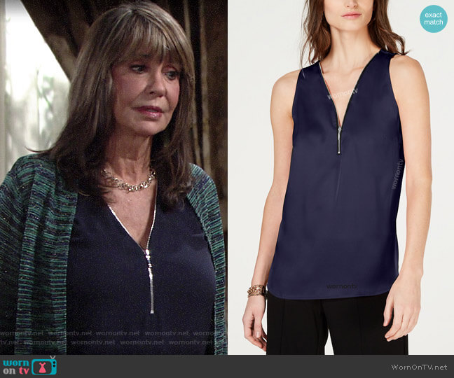 INC International Concepts Zip-Front Tank Top worn by Jill Abbott (Jess Walton) on The Young & the Restless