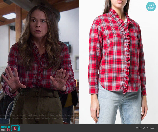 Plaid Long-sleeve Shirt by Isabel Marant Étoile worn by Liza Miller (Sutton Foster) on Younger