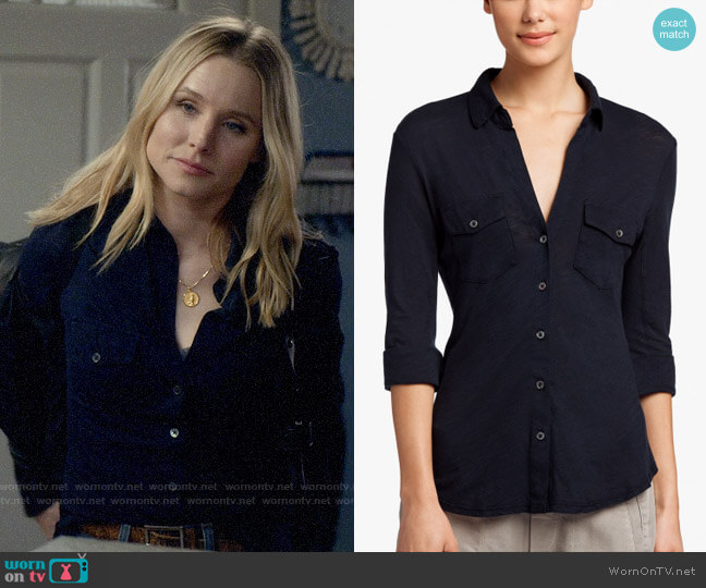 James Perse Sheer Slub Side Panel Shirt worn by Veronica Mars (Kristen Bell) on Veronica Mars