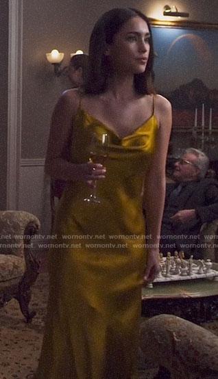 Jax's yellow midi slip dress on Pandora