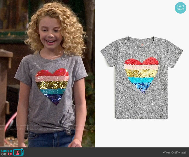 J. Crew Girls' Reversible Sequin Heart T-shirt worn by Destiny Baker (Mallory James Mahoney) on Bunkd