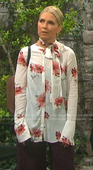 Jennifer's red and white floral tie-neck blouse on Days of our Lives