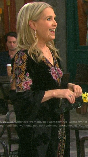 Jennifer's embroidered velvet  wrap dress on Days of our Lives