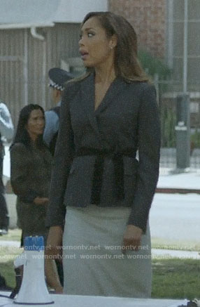 Jessica's blazer with velvet belt on Pearson