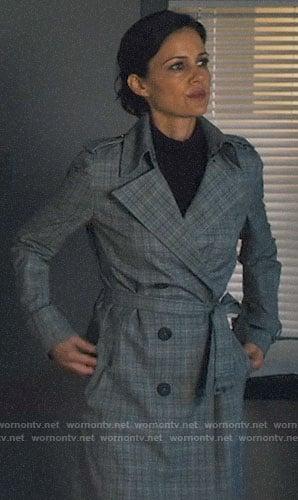 Jett's plaid trench coat on Jett