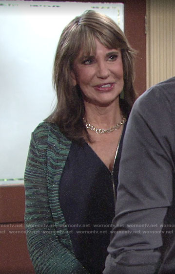 Jill's zip front top and teal metallic cardigan on The Young and the Restless