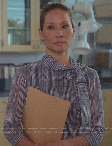 Joan's plaid tie-neck dress on Elementary