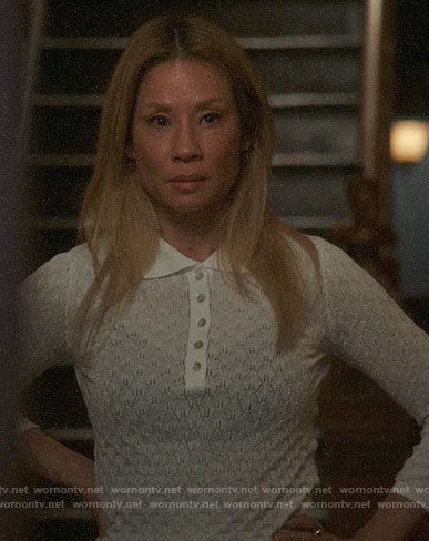 Joan's white pointelle polo sweater on Elementary