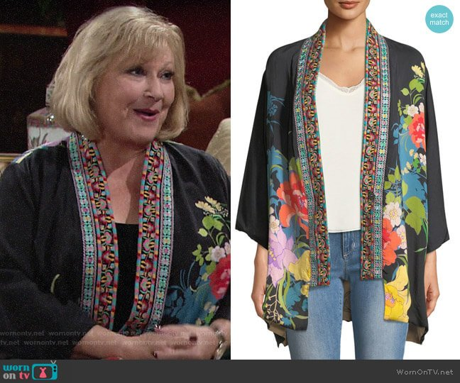 Johnny Was Fuskha Floral-Print Kimono worn by Traci Abbott (Beth Maitland) on The Young & the Restless