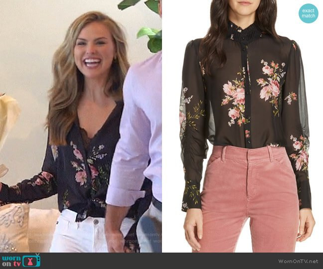 Elzie Print Silk Blouse by Joie worn by Hannah Brown  on The Bachelorette