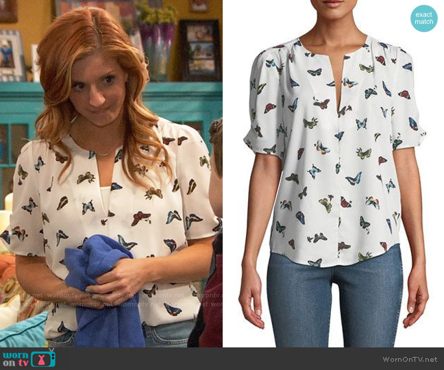 Joie Amone Butterfly Print Top worn by Chelsea Grayson (Anneliese van der Pol) on Ravens Home
