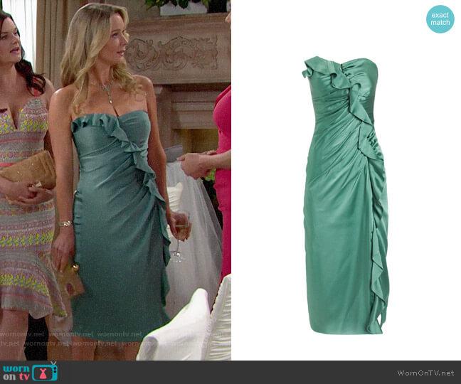 Jonatha Simkhai Sateen Ruffle Bustier Dress worn by Donna Logan (Jennifer Gareis) on The Bold & the Beautiful