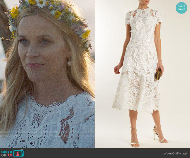 Jonathan Simkhai Guipure Lace Midi Dress worn by Madeline Martha Mackenzie (Reese Witherspoon) on Big Little Lies