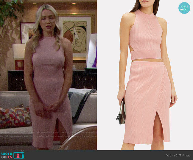 Jonathan Simkhai Racer Knit Tank and Wrap Skirt worn by Florence (Katrina Bowden) on The Bold & the Beautiful