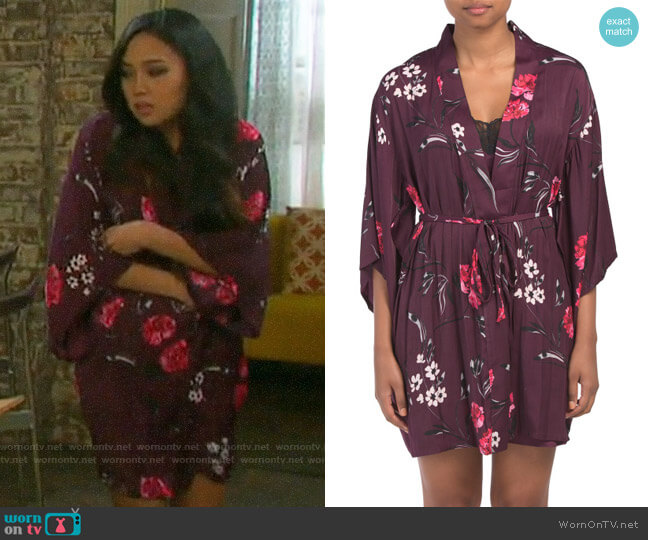 Josie Freestyle Floral Robe worn by Haley Chen (Thia Megia) on Days of our Lives