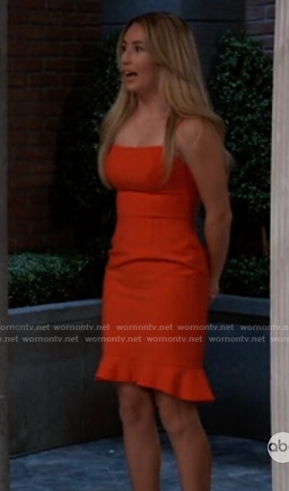 Josslyn's red ruffle hem dress on General Hospital