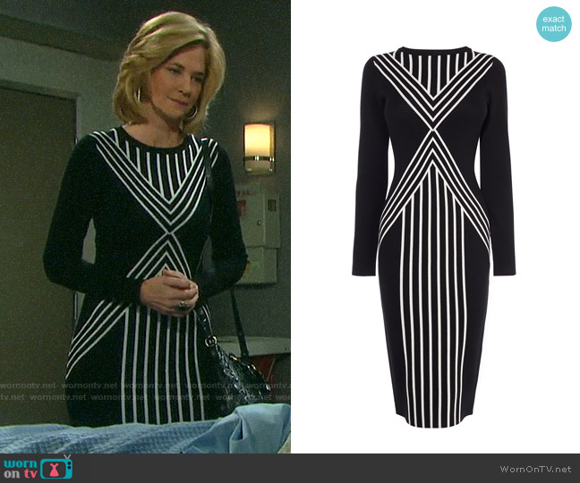 Karen Millen Body Contour Midi Dress worn by Eve Donovan (Kassie DePaiva) on Days of our Lives