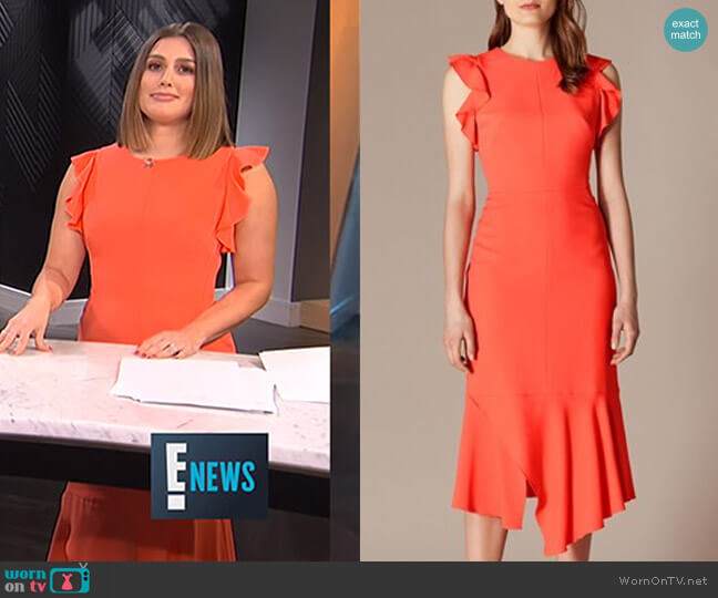 Fit and Flare Ruffle Dress by Karen Millen worn by Carissa Loethen Culiner  on E! News