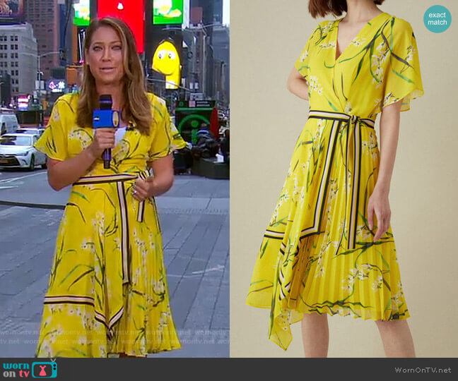 Pleated Floral Midi Dress by Karen Millen worn by Ginger Zee  on Good Morning America