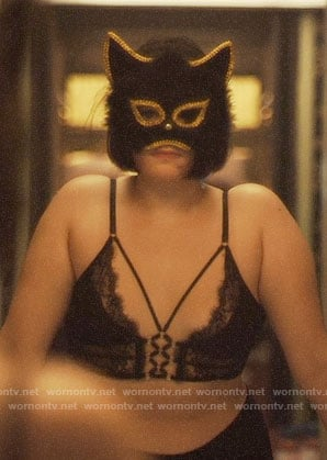 Kat's black lace corset bra on Euphoria