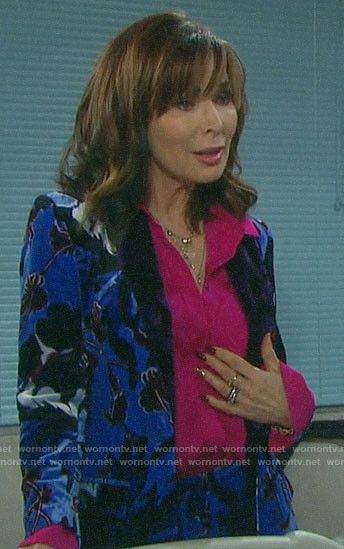 Kate's blue floral velvet suit on Days of our Lives