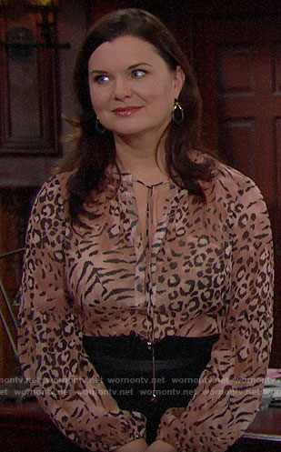 Katie's animal print blouse on The Bold and the Beautiful