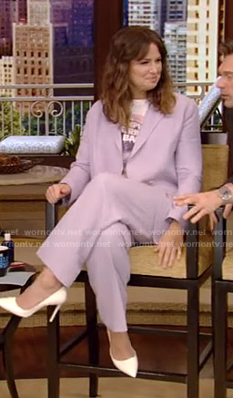 Katie Lowes's purple suit on Live with Kelly and Ryan