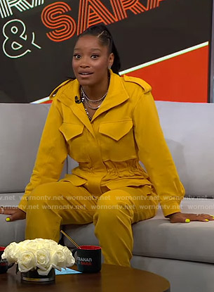 Keke's yellow utility jumpsuit on GMA Strahan And Sara