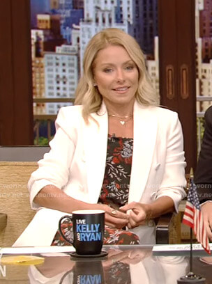 kelly's floral dress and white blazer on Live with Kelly and Ryan