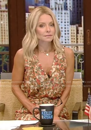Kelly's floral v-neck mini dress on Live with Kelly and Ryan