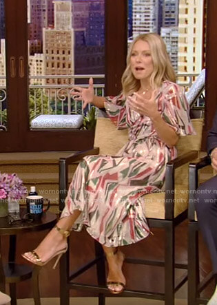 Kelly's metallic knot front dress on Live with Kelly and Ryan