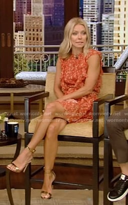 Kelly's red floral ruffle mini dress on Live with Kelly and Ryan