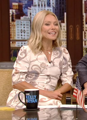 Kelly's white printed v-neck dress on Live with Kelly and Ryan