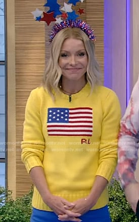 Kelly's yellow american flag sweater on Live with Kelly and Ryan