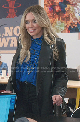 Kelsey's black moto jacket on Younger